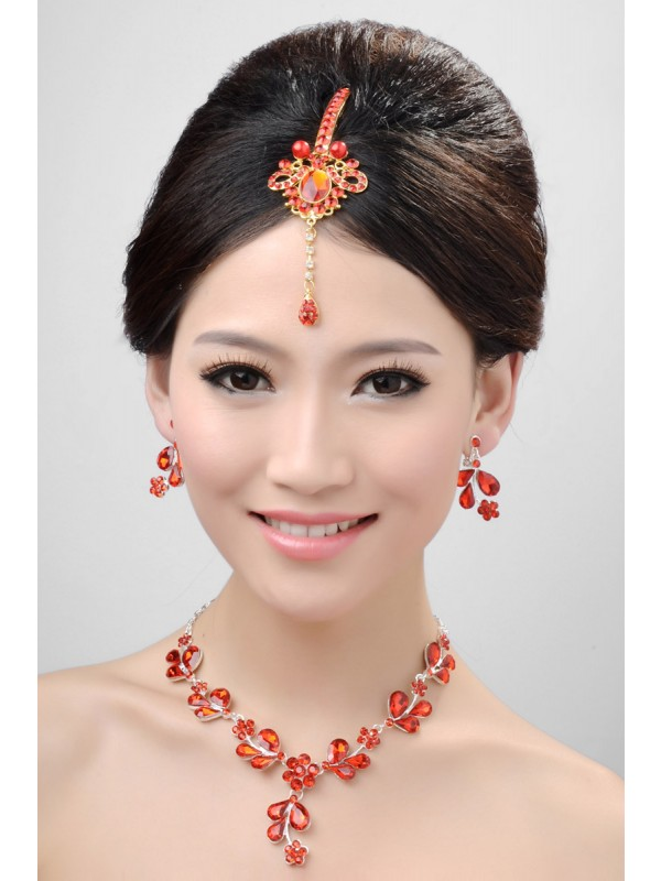 Awesome Alloy Crystals Pearls Wedding Headpieces Necklaces Earrings Set