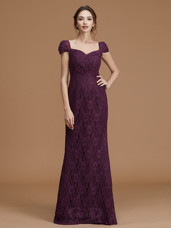 Sheath/Column Sweetheart Satin Short Sleeves Floor-Length Bridesmaid Dresses