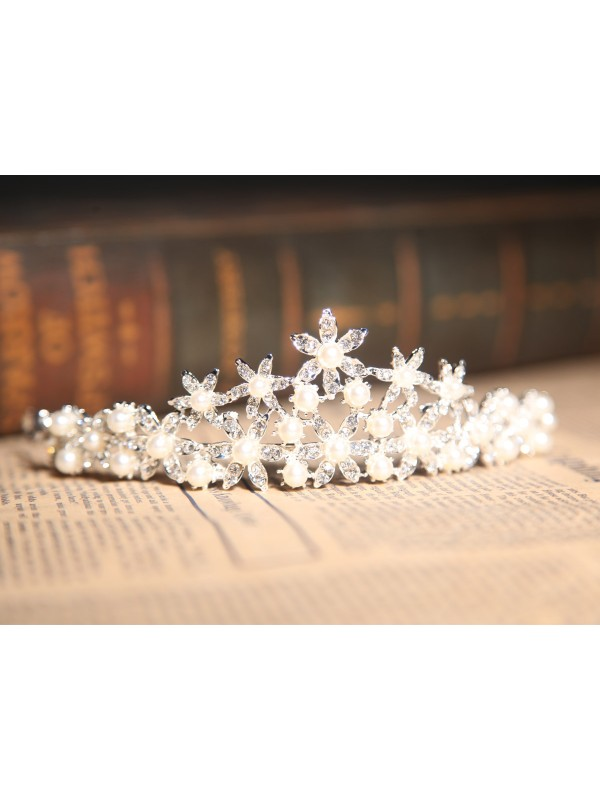 Nice Alloy Clear Crystals Pearl Wedding Headpieces