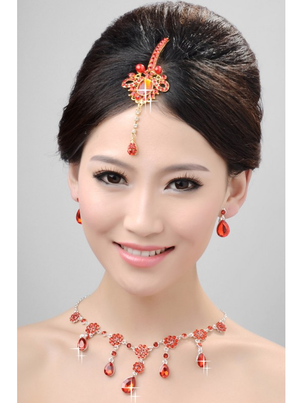 Nice Alloy Crystals Pearls Wedding Headpieces Necklaces Earrings Set