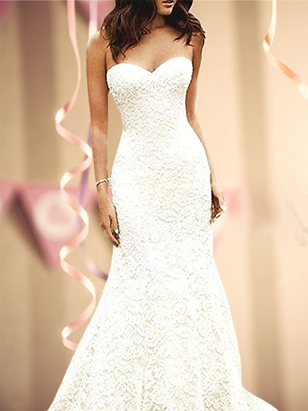 Trumpet/Mermaid Sweetheart Lace Sleevleses Sweep/Brush Train Wedding Dresses