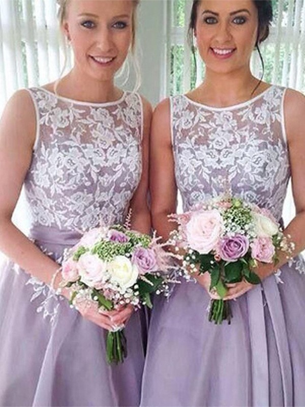 A-Line/Princess Sheer Neck Organza Sleeveless Knee-Length Bridesmaid Dresses