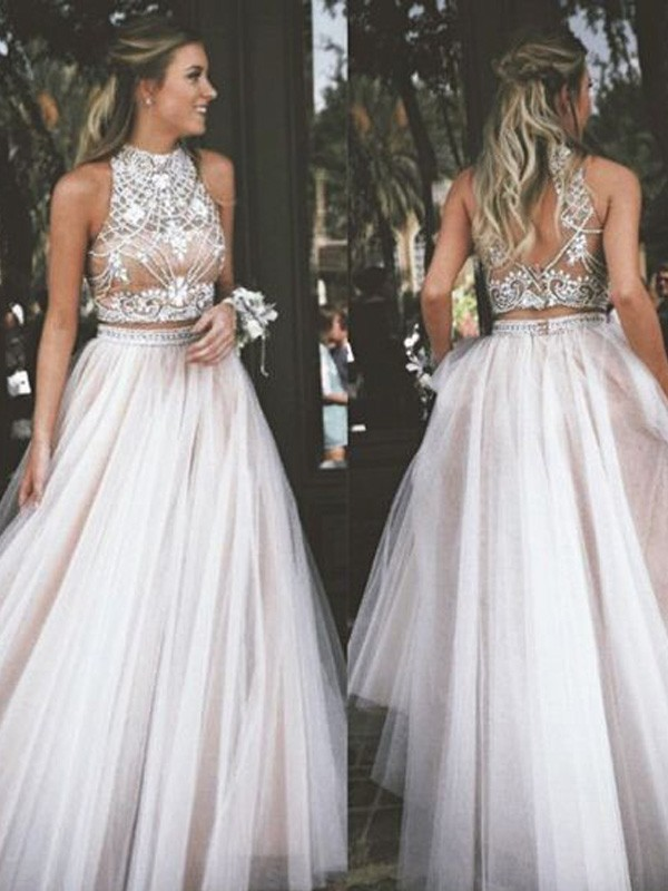 A-Line/Princess High Neck Tulle Sleeveless Floor-Length Two Piece Dresses