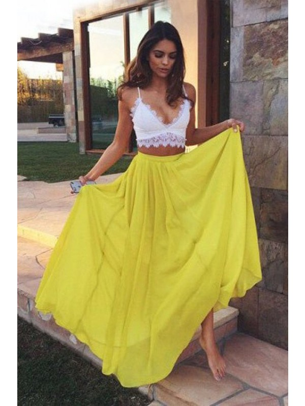 A-Line/Princess Straps Chiffon Sleeveless Floor-Length Two Piece Dresses
