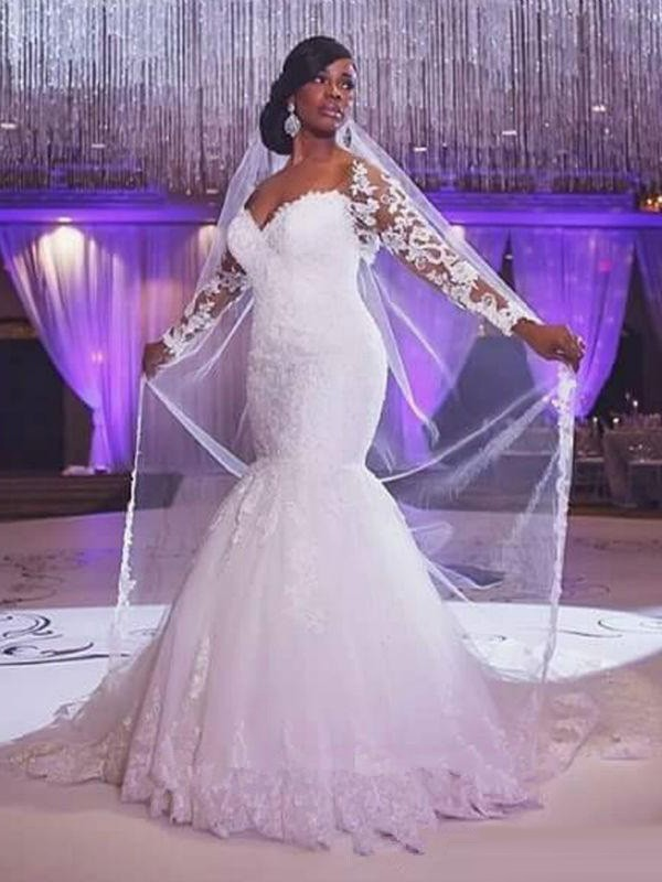Trumpet/Mermaid Sweetheart Tulle Long Sleeves Sweep/Brush Train Wedding Dresses
