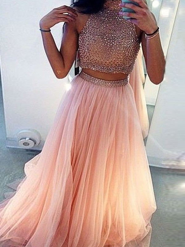 A-Line/Princess High Neck Tulle Sleeveless Sweep/Brush Train Two Piece Dresses