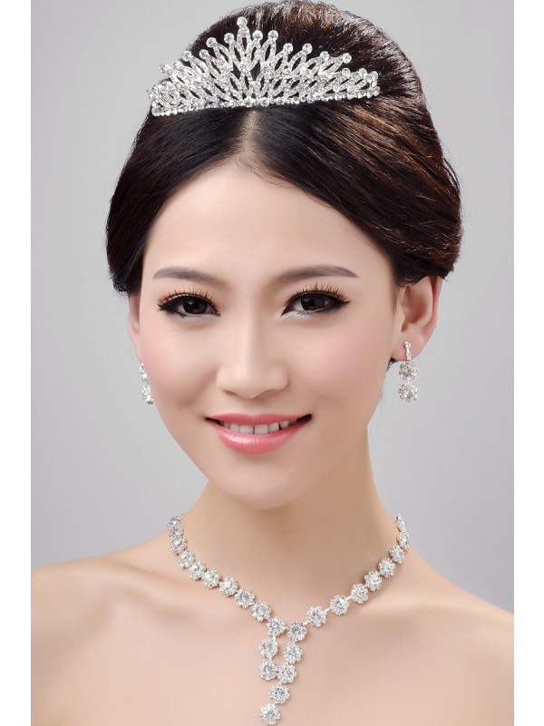 Stunning Alloy Clear Crystals Wedding Headpieces Necklaces Earrings Set