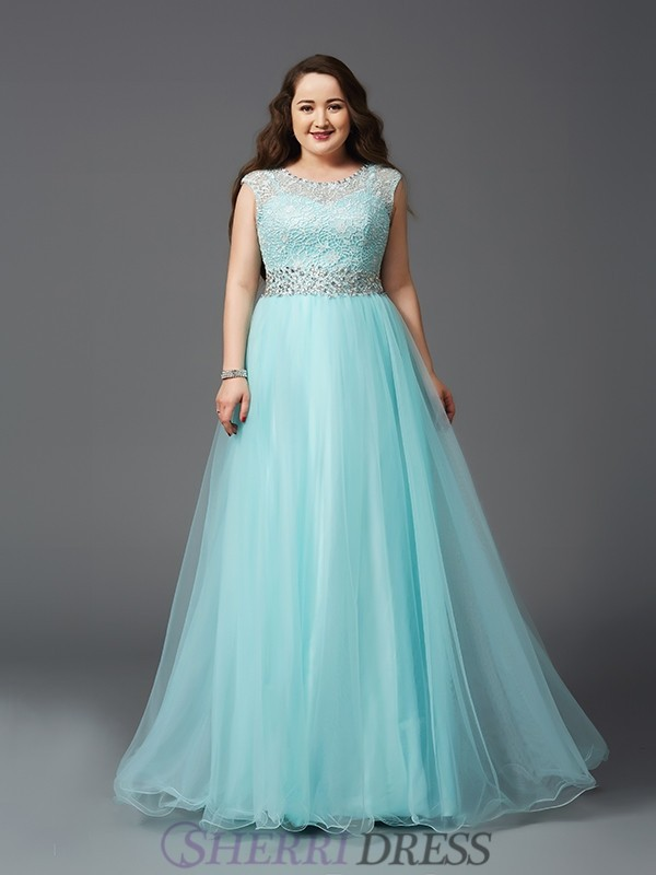 46f7a660c52 A-Line Princess Scoop Elastic Woven Satin Sleeveless Floor-Length Plus Size  Prom