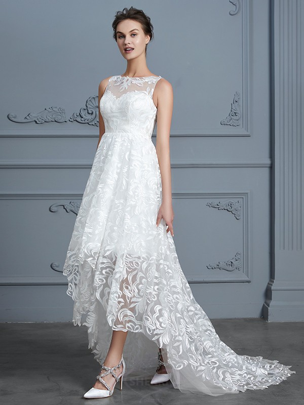 2bcc51b959 A-Line Princess Scoop Lace Sleeveless Asymmetrical Wedding Dresses ...
