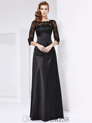 Sheath/Column Off the Shoulder Elastic Woven Satin 3/4 Sleeves Floor-Length Dresses