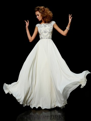 Ball Gown High Neck Chiffon Short Sleeves Floor-Length Dresses
