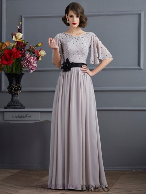 A-Line/Princess High Neck Chiffon 1/2 Sleeves Floor-Length Dresses