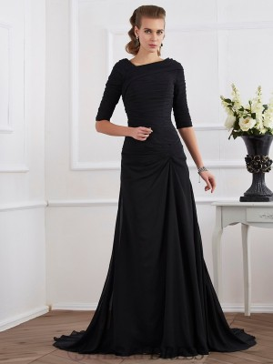 A-Line/Princess Chiffon 1/2 Sleeves Sweep/Brush Train Dresses