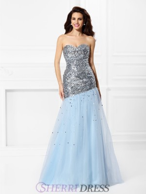 Trumpet/Mermaid Sweetheart Satin Sleeveless Floor-Length Prom Dresses