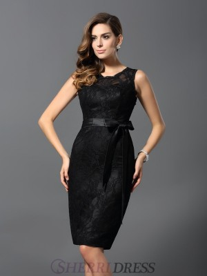 Sheath/Column Jewel Satin Sleeveless Knee-Length Dresses
