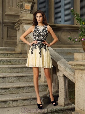 A-Line/Princess Scoop Lace Sleeveless Short/Mini Dresses
