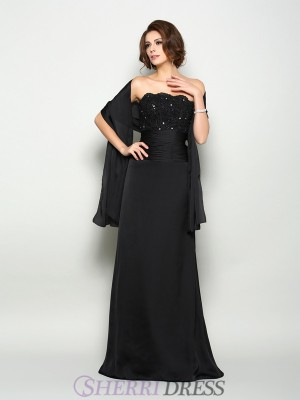 A-Line/Princess Strapless Chiffon Sleeveless Sweep/Brush Train Mother of the Bride Dresses