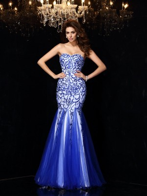 Sheath/Column Sweetheart Net Sleeveless Floor-Length Dresses