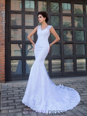 Trumpet/Mermaid V-neck Satin Sleeveless Chapel Train Wedding Dresses