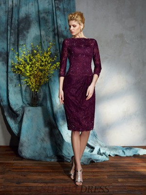 Sheath/Column Bateau Lace 3/4 Sleeves Knee-Length Mother of the Bride Dresses