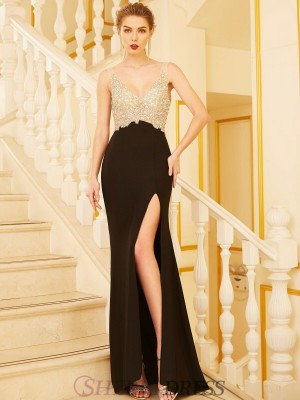 Sheath/Column V-neck Spandex Sleeveless Sweep/Brush Train Dresses