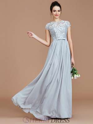 A-Line/Princess Jewel Chiffon Short Sleeves Floor-Length Bridesmaid Dresses
