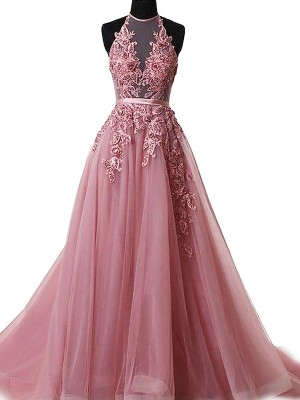 A-Line/Princess Halter Tulle Sleeveless Sweep/Brush Train Dresses