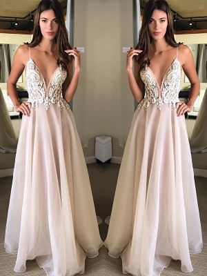A-Line/Princess Spaghetti Straps Chiffon Sleeveless Sweep/Brush Train Dresses