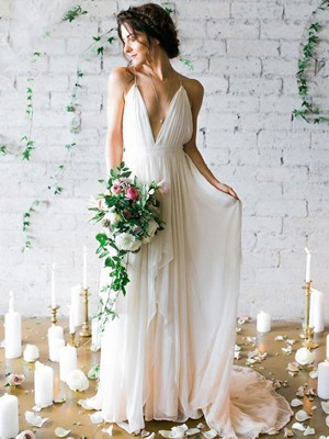 A-Line/Princess Spaghetti Straps Chiffon Sleeveless Sweep/Brush Train Wedding Dresses