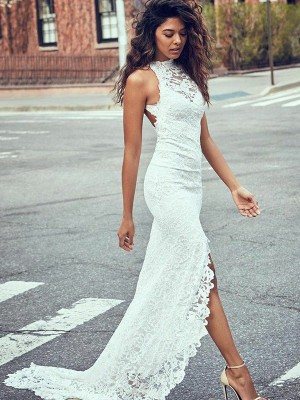 Trumpet/Mermaid Halter Lace Sleeveless Sweep/Brush Train Wedding Dresses