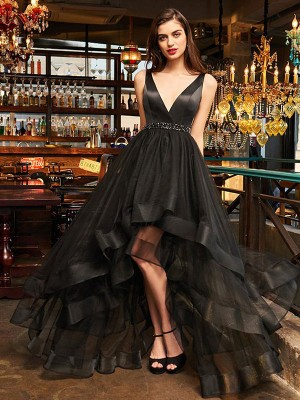 A-Line/Princess V-neck Organza Sleeveless Asymmetrical Dresses