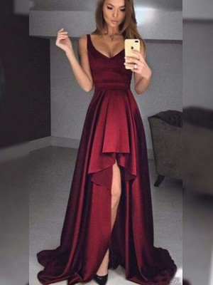 A-Line/Princess Straps Satin Sleeveless Asymmetrical Dresses