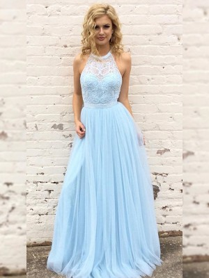 A-Line/Princess Halter Tulle Sleeveless Floor-Length Dresses