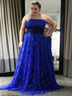 A-Line/Princess Strapless Lace Sleeveless Floor-Length Plus Size Dresses