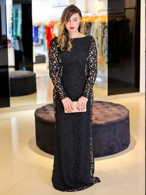 Sheath/Column Long Sleeves Lace Sleeveless Floor-Length Plus Size Dresses