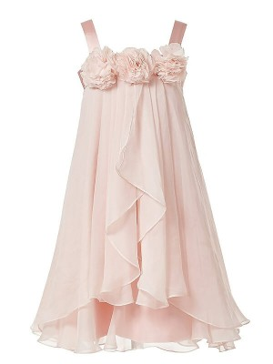 A-Line/Princess Straps Chiffon Sleeveless Ankle-Length Flower Girl Dresses