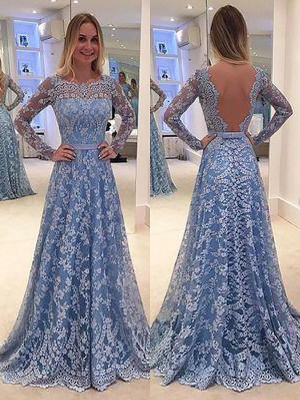 A-Line/Princess Bateau Lace Long Sleeves Floor-Length Dresses