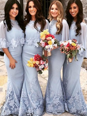 Trumpet/Mermaid Scoop Satin Short Sleeves Floor-Length Bridesmaid Dresses