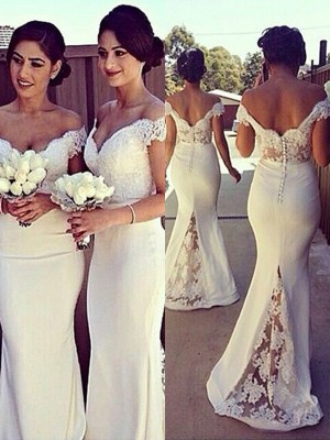 Trumpet/Mermaid Off-the-Shoulder Satin Sleeveless Sweep/Brush Train Bridesmaid Dresses