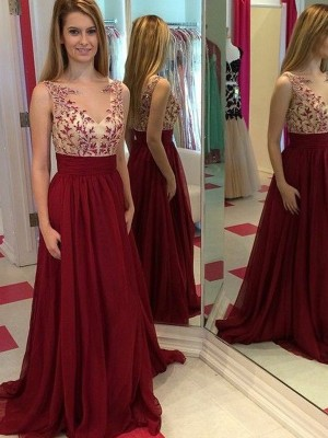 A-Line/Princess Bateau Chiffon Sleeveless Floor-Length Prom Dresses