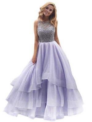 Ball Gown Scoop Organza Sleeveless Floor-Length Prom Dresses