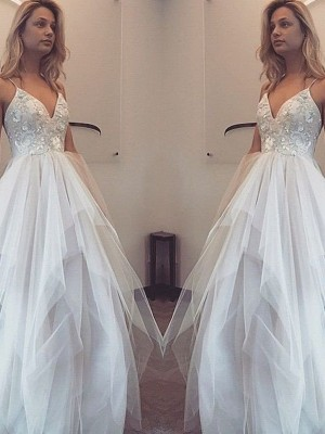 A-Line/Princess Spaghetti Straps Tulle Sleeveless Floor-Length Prom Dresses