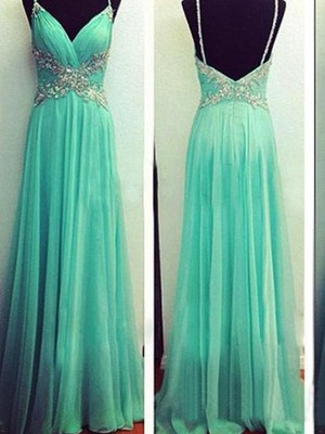 A-Line/Princess Spaghetti Straps Chiffon Sleeveless Floor-Length Prom Dresses