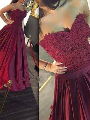 A-Line/Princess Sweetheart Satin Sleeveless Floor-Length Prom Dresses