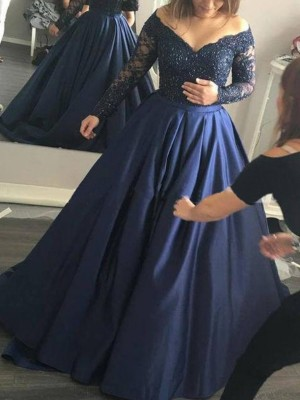 Ball Gown Off-the-Shoulder Satin Long Sleeves Sweep/Brush Train Prom Dresses