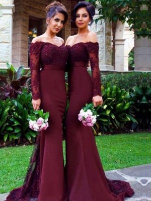 Trumpet/Mermaid Off-the-Shoulder Satin Long Sleeves Sweep/Brush Train Bridesmaid Dresses
