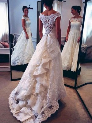 A-Line/Princess Scoop Lace Sleeveless Court Train Wedding Dresses