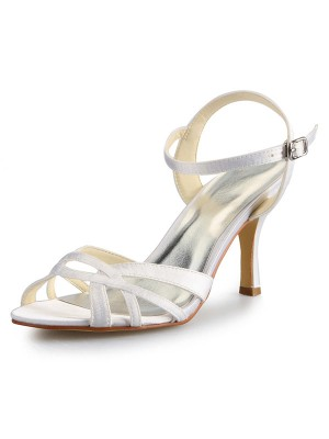 Women's Stiletto Heel Peep Toe Satin With Buckle Sandal Dance Shoes