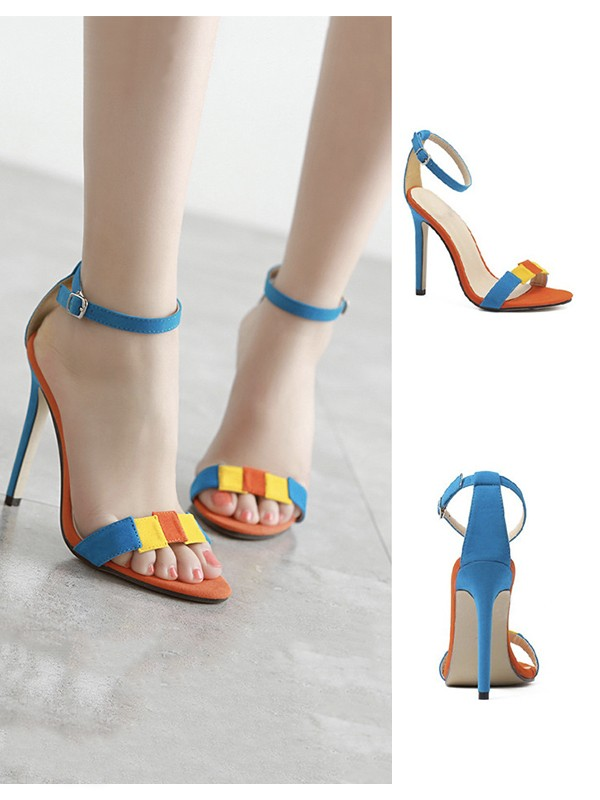 Women's Suede Stiletto Heel Peep Toe With Buckle Sandals