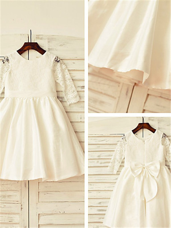 A-line/Princess Jewel Satin Long Sleeves Tea-Length Flower Girl Dresses
